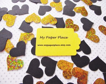 100 - Black and Gold Iridescent/Holographic Heart Confetti-Wedding Confetti- Shower Decoration-Party Decor-Table Scatter
