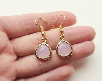 Pink Faceted Chalcedony Gold Plated Bezel Earrings - Bride, Bridal Party, Bridesmaid Jewelry Wedding Gift - Couldn't Say I Do Without You