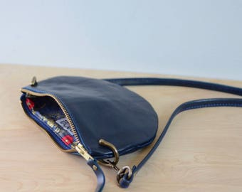 The Mini: Deep navy leather crossbody bag