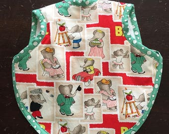 Bibs, baby bib, boy bib, girl bib, Babar fabric, bapron, baby gift, art bib, elephant bib, 6-18 months, tie bib, Babar, baby bibs, bibs