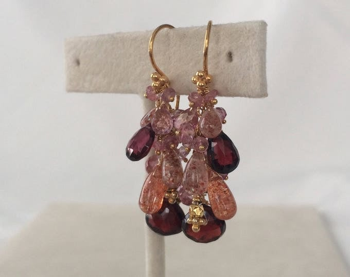 Garnet and Sunstone Semiprecious Gemstone Earrings in Gold Vermeil with Garnet, African Sunstone, Mystic Pink Quartz and Mystic Pink Topaz