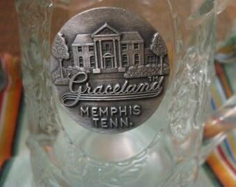 graceland  memphis  TENN. mug stein glass ELVIS