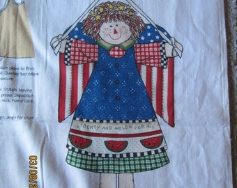 """LIBERTY Angel Doll  DAISY KINGDOM Fabric Panel for 17"""" doll Patriotic 4th of July #1976"""
