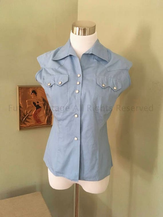 "1950s Blue ""Made in California"" Western Cowgirl Shirt with Sawtooth Pockets Pearl Snaps-S"