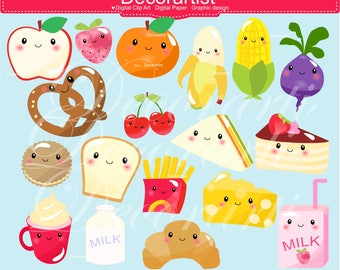 ON SALE Kawaii Food Clip Art _  Bread Sandwich Frenchfry banana corn fruit pretzel milk Kawaii food,Cute Face Food Clipart