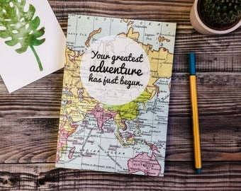 Your Greatest Adventure - Travel Journal - Writing Journal - Travel Gift - Graduation Gift - A5 Journal - Vintage Map Design - Book Lover
