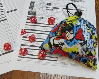 Batgirl Drawstring Dice Bag Includes Pearl Polyhedral Dice Set of Your Choice