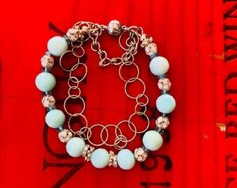 Blue Peruvian Opal double strand bracelet