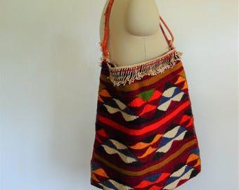 60s turkish KILIM wool tote bag boho carpet bag