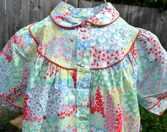 Vintage House Dress Summer Robe - Sears Snap Front Housecoat - Garden Floral - SM NWT