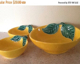 Sale Vintage Pottery Bowl Set Shaped Like an Orange