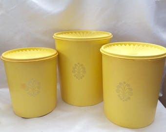 Set of 3 Yellow Tupperware Canisters