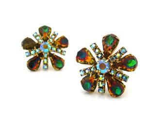 Vintage High End Watermelon Art Glass Flower Earrings, Aurora Borealis Rhinestone Clip On, 1960s Costume Jewelry
