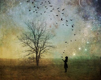 We are the Magic - astrology star photo, moon child girl landscape ethereal, home decor, night sky art Ontario, surreal dramatic spiritual