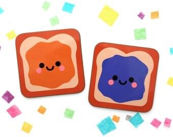 Peanut Butter and Jelly Sandwich Coasters, Hardboard Glossy Drinks Mat, Cute Homeware, PB & J, Set of 2 Mug Mats