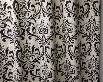 RTS, Unlined drapes, two panels 50W x 84L, traditions damask,black on linen