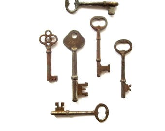6 Vintage skeleton keys Old skeleton keys Vintage keys Key collection Bridal key Skelton key Old key Group Gifts for her Antique keys bit #6