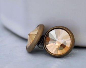 VINTAGE SPARKLE vintage Swarovski champagne color glass cab antiqued brass stud earrings with steel posts