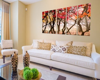 Canvas Prints - Forest Prints on Canvas - Autumn Decor - Forest Canvas Art - Forest Wall Art - Ready to Hang - Autumn Leaves