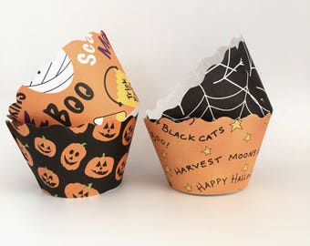 Halloween Cupcake Wrappers, Ocotber Cupcake Wrappers, - SALE