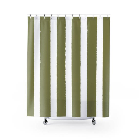 Olive Shower Curtain . Olive Green Striped Shower Curtain . Modern Olive Shower Curtain . Shower Curtain . Olive Striped Shower Curtain