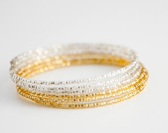 Gold and Crystal Bangle Bracelet, Two Tone, Color Block
