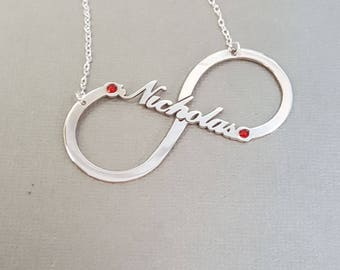 Personalized Infinity Name Necklace with Birthstone, Sterling Silver Custom Made with any name or word