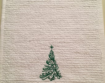 Christmas Kitchen Wash Cloth with a Christmas Tree
