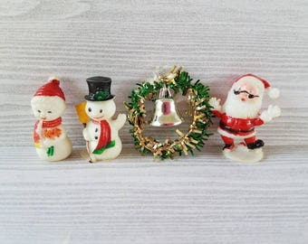 Vintage Christmas Snowman,  Santa, Wreath miniature set