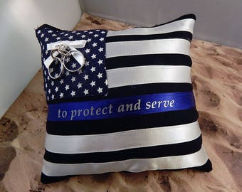 Police Policeman Flag Black Blue Satin Thin Line Protect and Serve Wedding Ring Bearer Pillow
