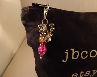 Purse Zipper Charm 170 Key Fob Beaded Hot Pink Brown Deer Head Charm work Lanyard Handbag Identification tag key ring