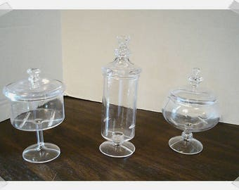 Miniature Clear Apothecary Jars- Acrylic  / 3 Choices/ Single OR Set of 2/ OR Set of 3/ Mini/ Craft Supplies*