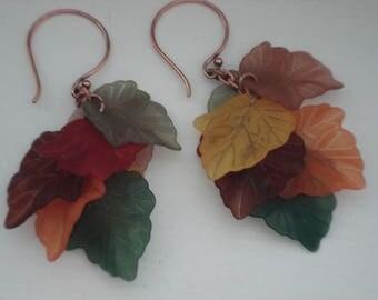 Autumn Leaves Gold Dangle Earrings Fall Foliage OOAK