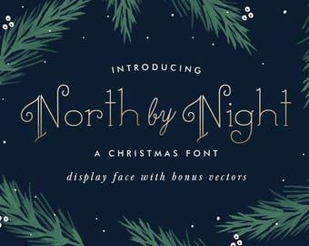 North By Night, A Christmas Display Font, OTF & TTF files, Instant Download