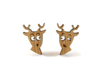 Oh Deer Earrings, Deer Stud Earrings, Mismatched Earrings, Wood Deers, Quirky Jewellery