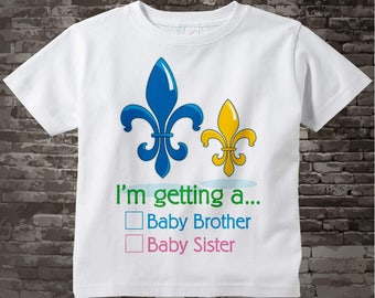 Gender Reveal Shirt -  Fleur de Lis Gender Reveal tShirt - Mardi Gras Gender Reveal t-shirt - Boy's Gender Reveal Outfit - 12302015b