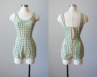 1950s Playsuit - 50s Romper Sunsuit - Cotton Novelty Fruit Olive Gingham Onesie XS to S - Orchard Picnic Romper