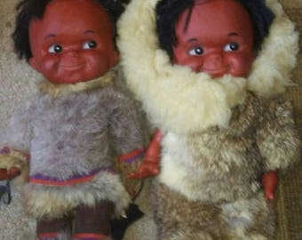 Family of Vintage Eskimo Dolls with Rabbit Fur Clothes- Regal Canada Inuit