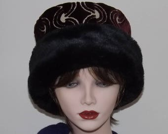 Ladies Winter Hat, Burgundy Velvet Brocade Hat with Faux Fur Brim