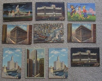 10 Assorted Linen Postcards of Chicago, Humor, Fair to Very Good Condition