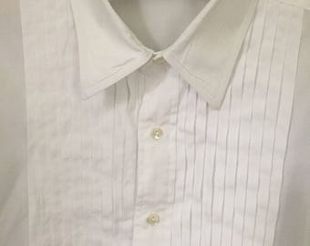 Vintage Brooks Brothers white cotton tuxedo shirt. Size 16-4. French cuffs. Black tie wedding shirt