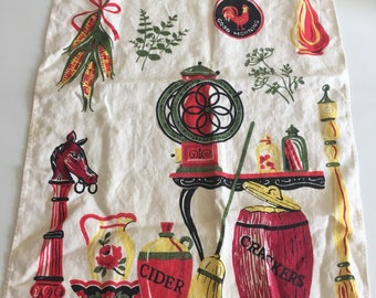 Vintage dish towel with cute pattern