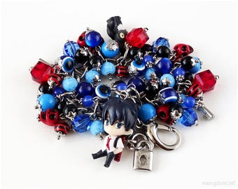 Ao no Exorcist Rin Okumura Charm Bracelet, Anime Gifts, Kawaii Jewelry