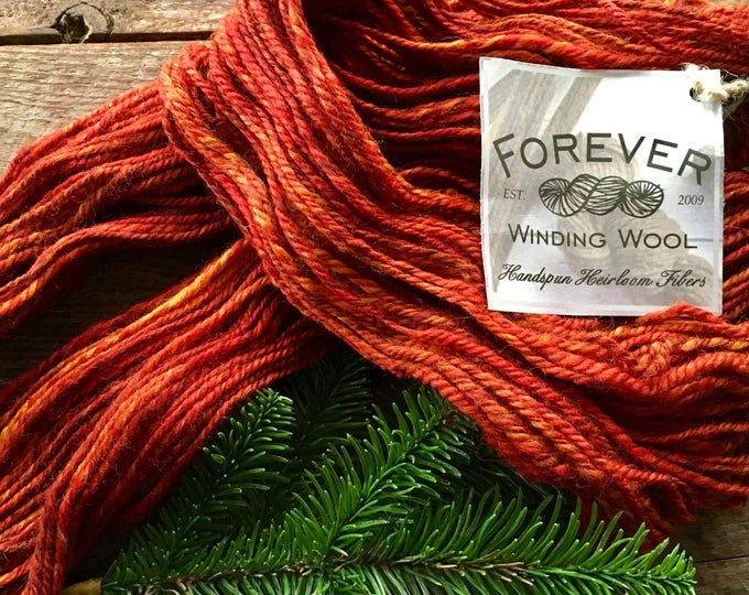 Orange handspun corriedale wool yarn - Autumn's Splendor