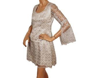 Vintage 1960s Silver Lace Mini Dress  with Angel Sleeves - MOD - S