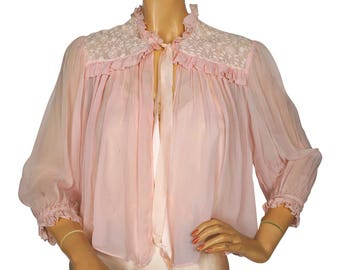 Vintage 1940s Pink Chiffon and Lace Bed Jacket - As Is  - S