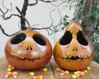 Halloween Gourd Jack & Sally Skellington Primitive Pumpkin Decoration ( inspired by Tim Burton ) (sold as a pair )