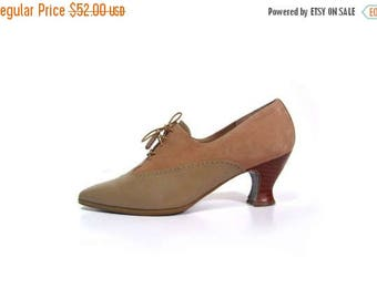 30% OFF Vintage 90s Preppy Secretary Tanned Suede Leather Oxford Spectator Heels women 9 9.5N indie hipster rush hour hip hop suffragette vi