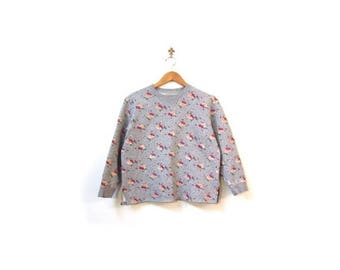 30% OFF Vintage 90s Gray Floral Polka Dot Grunge Cotton Jersey Sweater women s m l vestiesteam preppy indie hipster