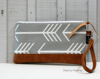 READY To SHIP - Grey Arrows with Vegan Leather - Zippered Wristlet Clutch /  Bridesmaid Gift- Accessory Make Up Bag -